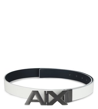 Armani Exchange White & Navy Reversible Logo Waist Belt