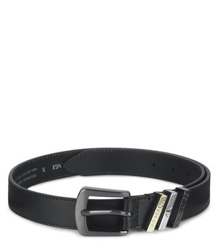 Armani Exchange Nero Metal Logo Buckle Waist Belt