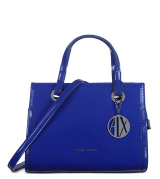 Armani Exchange Victoria Blue Medium Reversible Satchel