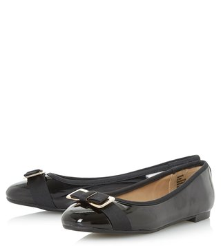Dune London Black Honor Ballerinas