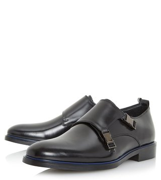 Dune London Black Particle Monk Shoes