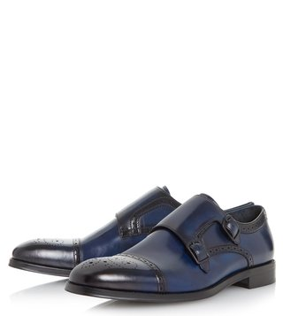 Dune London Blue Patriarch Monk Shoes