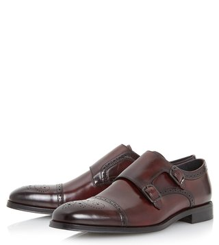 Dune London Burgundy Patriarch Monk Shoes
