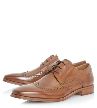 Dune London Tan Pembrook Brogue Shoes