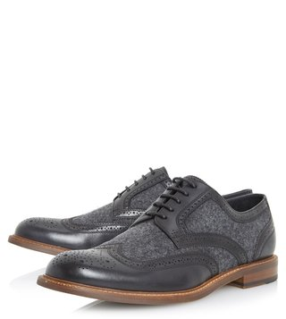 Dune London Black Pilgrim Brogue Shoes