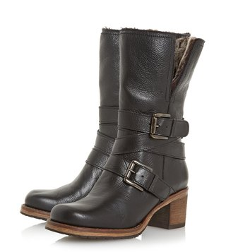 Dune London Black Rockerr Biker Boots