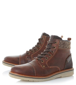 Dune London Brown Cannister Derby Boots