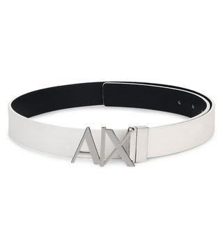 Armani Exchange White & Navy Reversible Hinge Belt