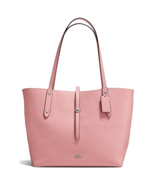 Coach Silver Peony Polished Pebble Leather Market Tote