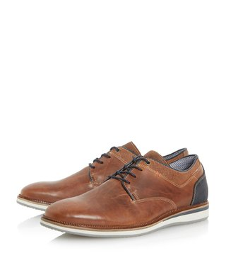 Dune London Tan Bodyguard Derby Shoes