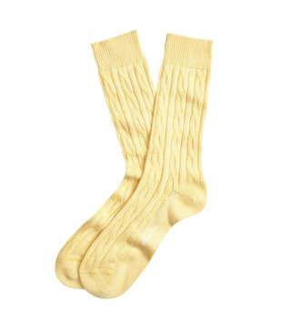 Brooks Brothers Yellow Egypt Textured Crew Socks