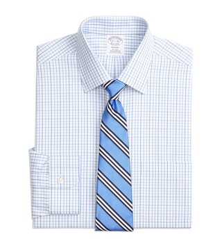 Brooks Brothers Blue Regent Fit Non-Iron Tonal Check Shirt