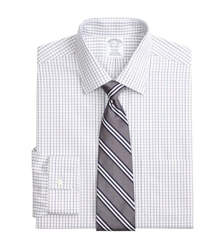 Brooks Brothers Grey Regent Fit Non-Iron Tonal Check Shirt