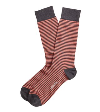 Brooks Brothers Orange & Grey Striped Crew Socks