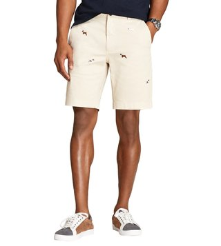 Brooks Brothers Red Fleece Beige Embroidered Shorts