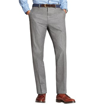 Brooks Brothers Red Fleece Grey Textured Neat Trousers