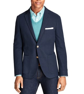 Brooks Brothers Red Fleece Navy Textured Blazer