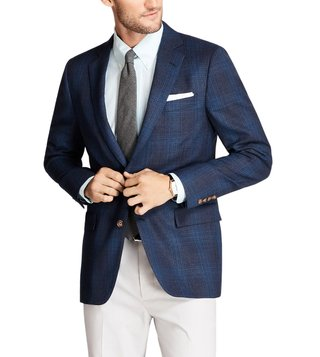 Brooks Brothers Blue Regent Fit Plaid Hopsack Sport Coat