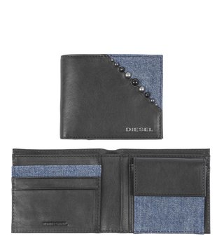 Diesel Black Keepler Hiresh Bi-Fold Wallet