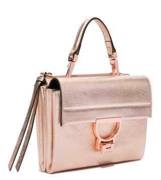 Coccinelle Rose Gold Arlettis Mini Leather Satchel