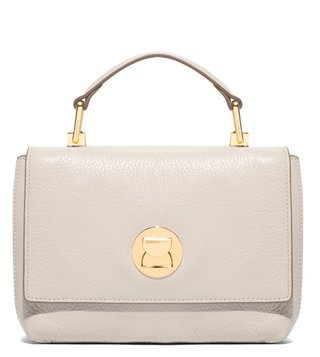 Coccinelle Seashel Taupe Liya Mini Leather Satchel