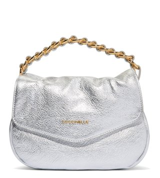 Coccinelle Silver Julie Mini Leather Clutch