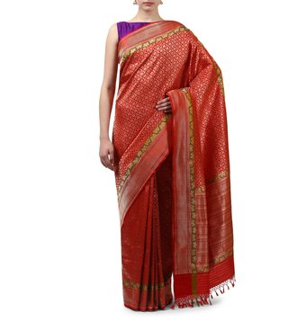 Swati and Sunaina Red Kanak Silk Banarasi Saree With Blouse