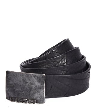 Diesel Black B-Mold Waist Belt