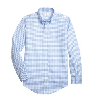 Brooks Brothers Light Blue Non Iron Oxford Gingham Sport Shirt