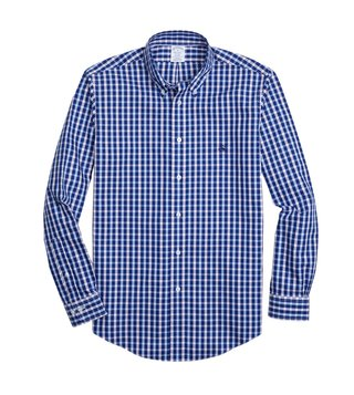 Brooks Brothers Blue Non Iron Pinpoint Yarn Dyed Sport Shirt