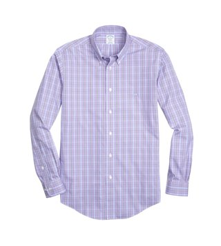 Brooks Brothers Purple Non Iron Pinpoint Yarn Dyed Sport Shirt