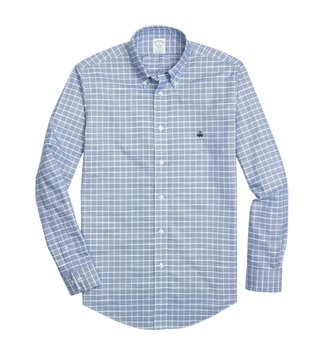 Brooks Brothers Blue Non Iron Oxford Windowpane Sport Shirt