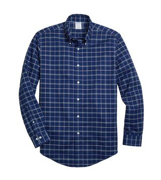 Brooks Brothers Navy Non Iron Oxford Yarn Dyed Sport Shirt
