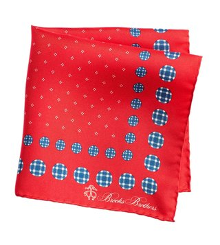 Brooks Brothers Red Printed Silk Pocket Square