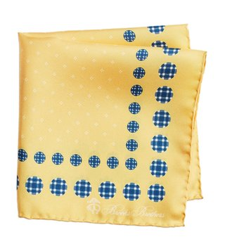 Brooks Brothers Yellow Printed Silk Pocket Square