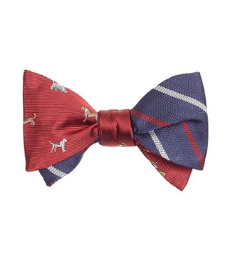 Brooks Brothers Red & Navy Printed Bow Tie