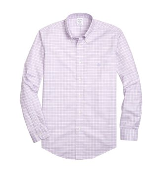 Brooks Brothers Purple Non Iron Oxford Windowpane Sport Shirt