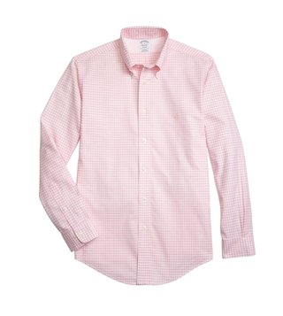 Brooks Brothers Light Pink Non Iron Oxford Gingham Sport Shirt