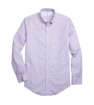 Brooks Brothers Purple Non Iron Oxford Gingham Sport Shirt