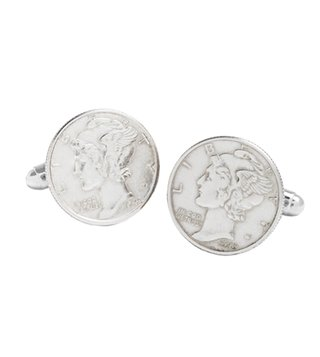 Brooks Brothers Silver Mercury Coin Cufflinks