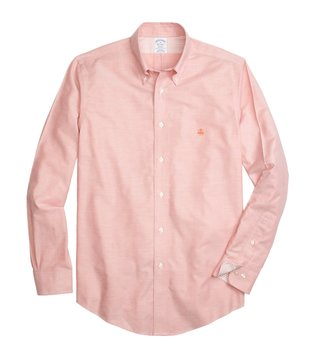 Brooks Brothers Orange Non Iron Oxford Sport Shirt