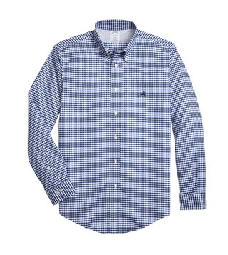 Brooks Brothers Navy Non Iron Oxford Gingham Sport Shirt