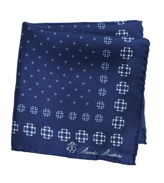 Brooks Brothers Navy Printed Silk Pocket Square