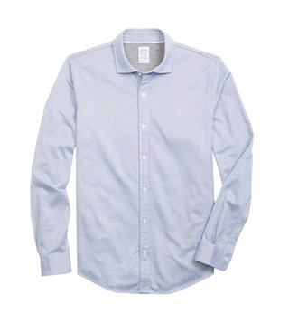 Brooks Brothers Open Blue Micro Pattern Sport Shirt