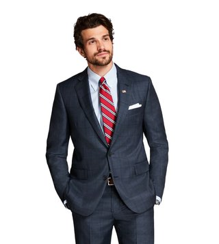 Brooks Brothers Charcoal & Blue Regent Fit Plaid Suit