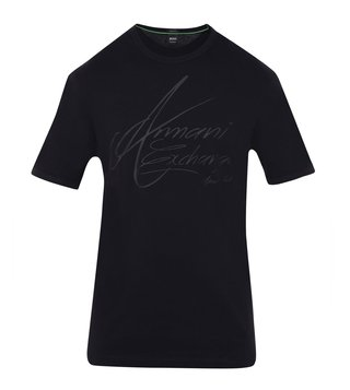 Armani Exchange Black Signature Regular Fit T-Shirt