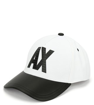 Armani Exchange Bianco & Nero Printed Sports Baseball Cap