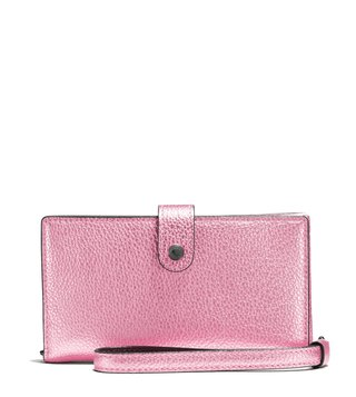 Coach Dark Metallic Blush Phone Wristlet