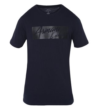 Armani Exchange Navy Signature Crew Neck Slim Fit T-Shirt