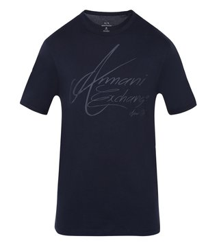 Armani Exchange Navy Signature Regular Fit T-Shirt